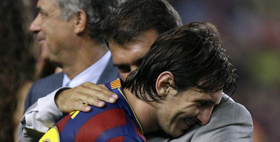 Laporta junto a Messi, mientras fue presidente del club.