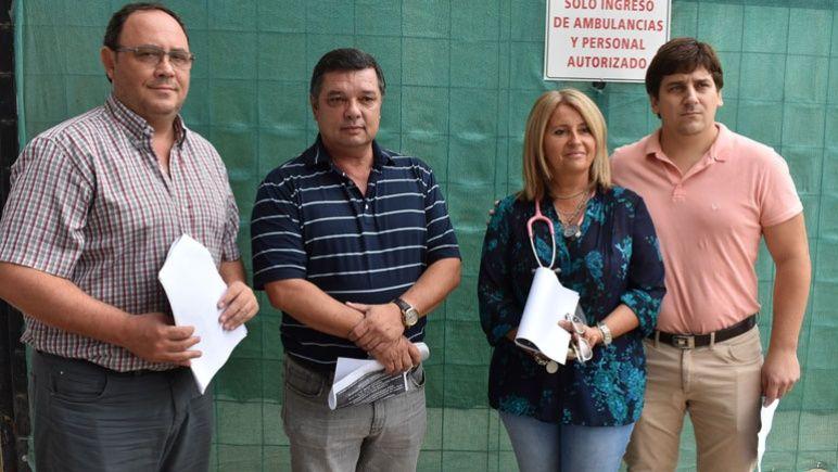 El comité epidemilógico local. De izq. a der.: Guerrera, Moya, Oriato y Zaninovic.
