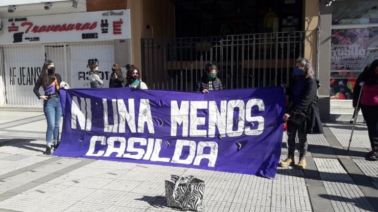 La concentración se realizó en la peatonal Sarmiento.