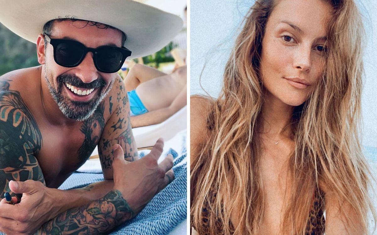 Lavezzi y su pareja actual, una modelo brasileña.