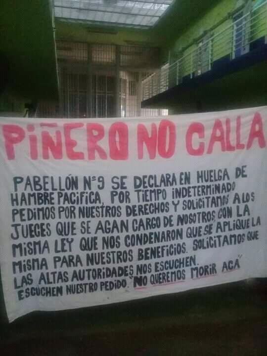Cartel difundido por internos de la cárcel de Piñero.