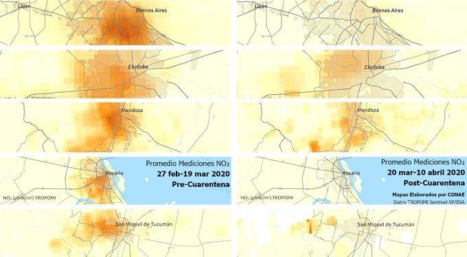 Una comparación de varias ciudades tomadas pre y pos cuarentena.