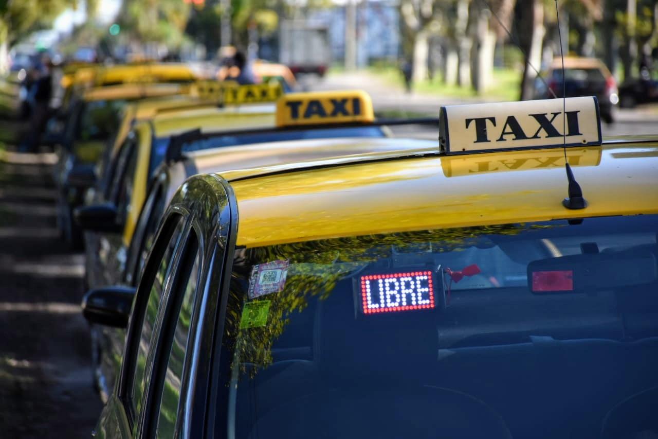 Una cola interminable de taxis sin poder levantar viajes (Rosarioplus)