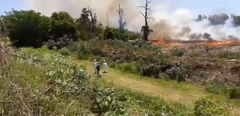 El predio de Swift que era sofocado por bomberos en zona sur.