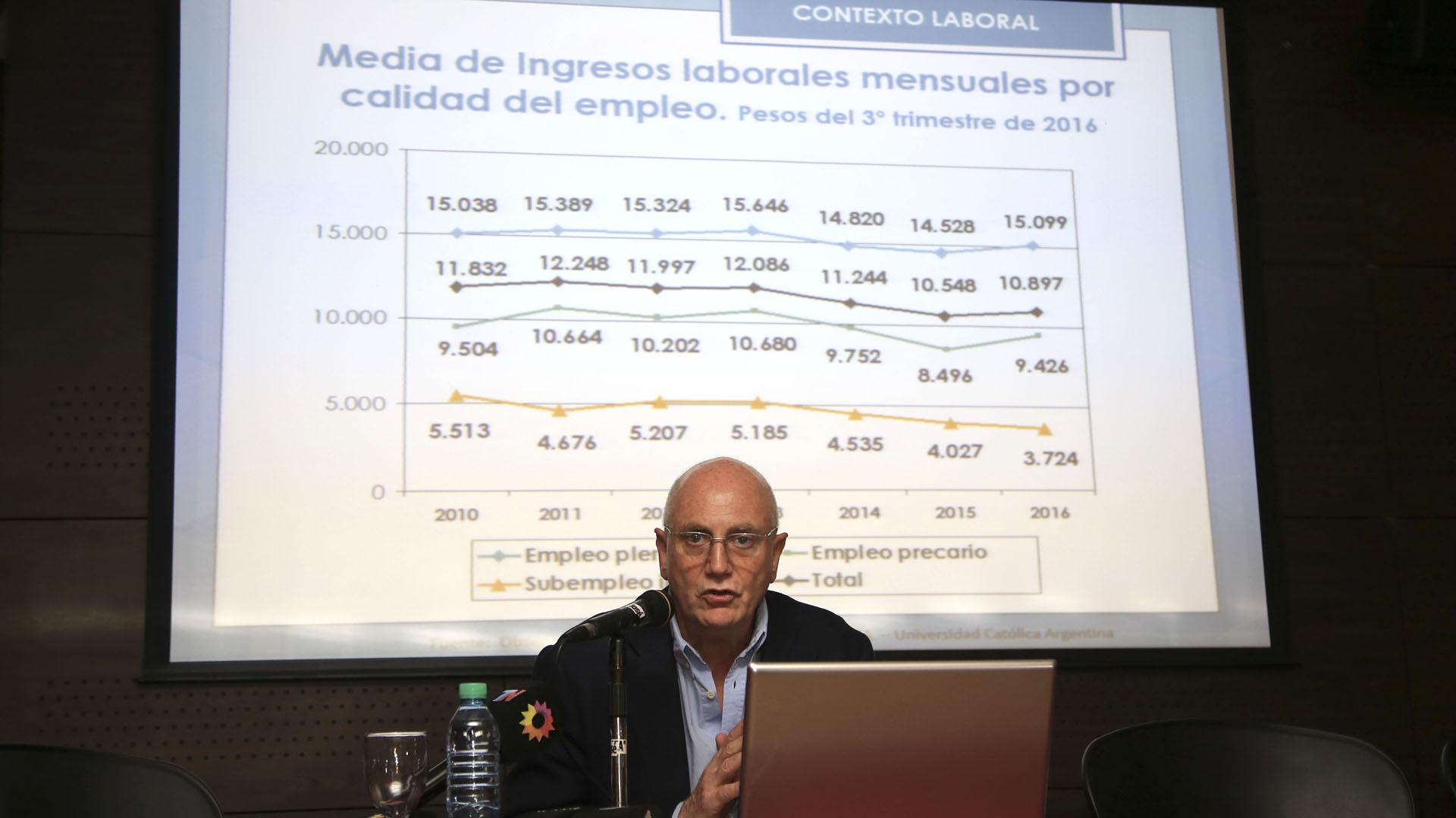 Agustín Salvia, del Observatorio Social de la Universidad Católica Argentina.