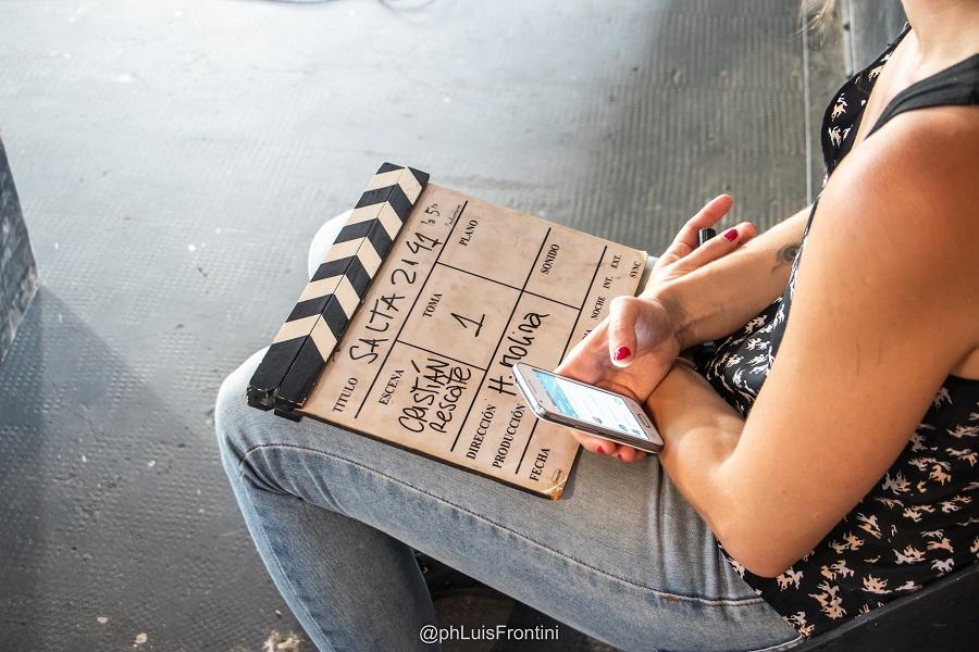 La claqueta en el primer día del rodaje del documental (LUIS FRONTINI).