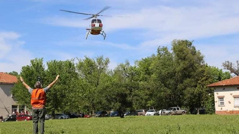 El Helicóptero Sanitario que posee sede en Rosario.
