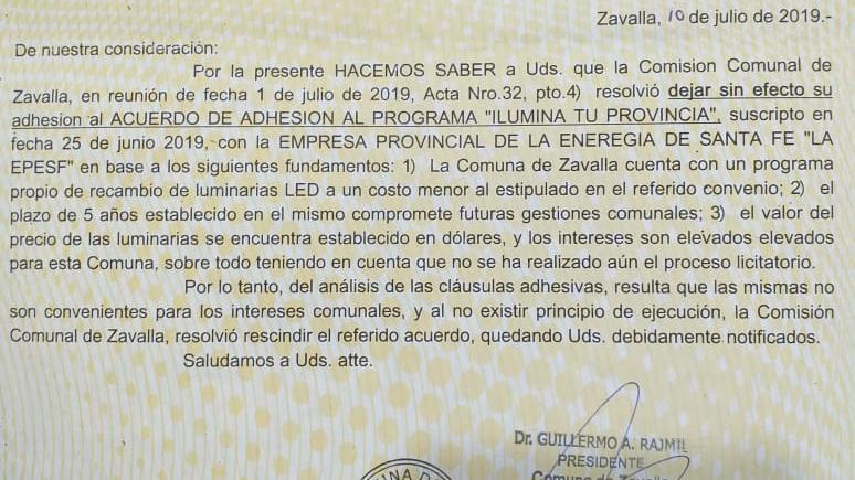 Zavalla se desvinculó de un plan provincial por gastar de más.