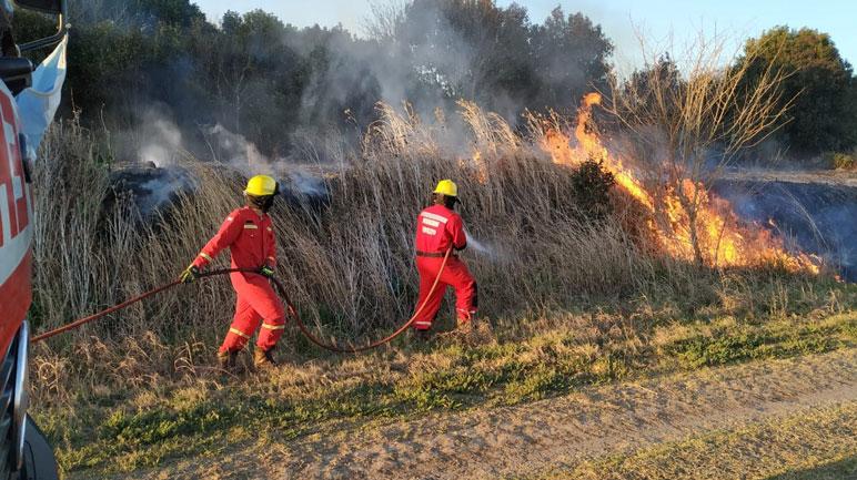 Los bomberos locales contaron con el apoyo del Cuerpo Activo de Arequito.