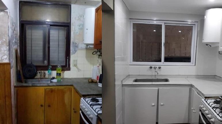 Antes y después de la zona de la cocina.