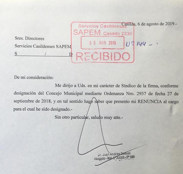 El documento oficial de la renuncia.