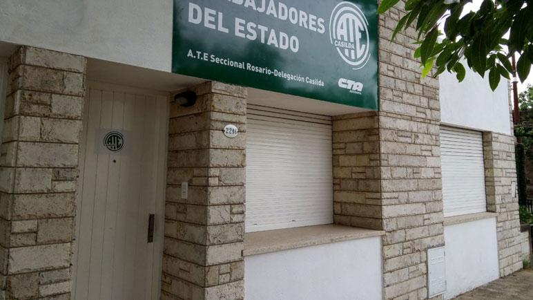 La fachada de la nueva sede de ATE sobre calle Washington.