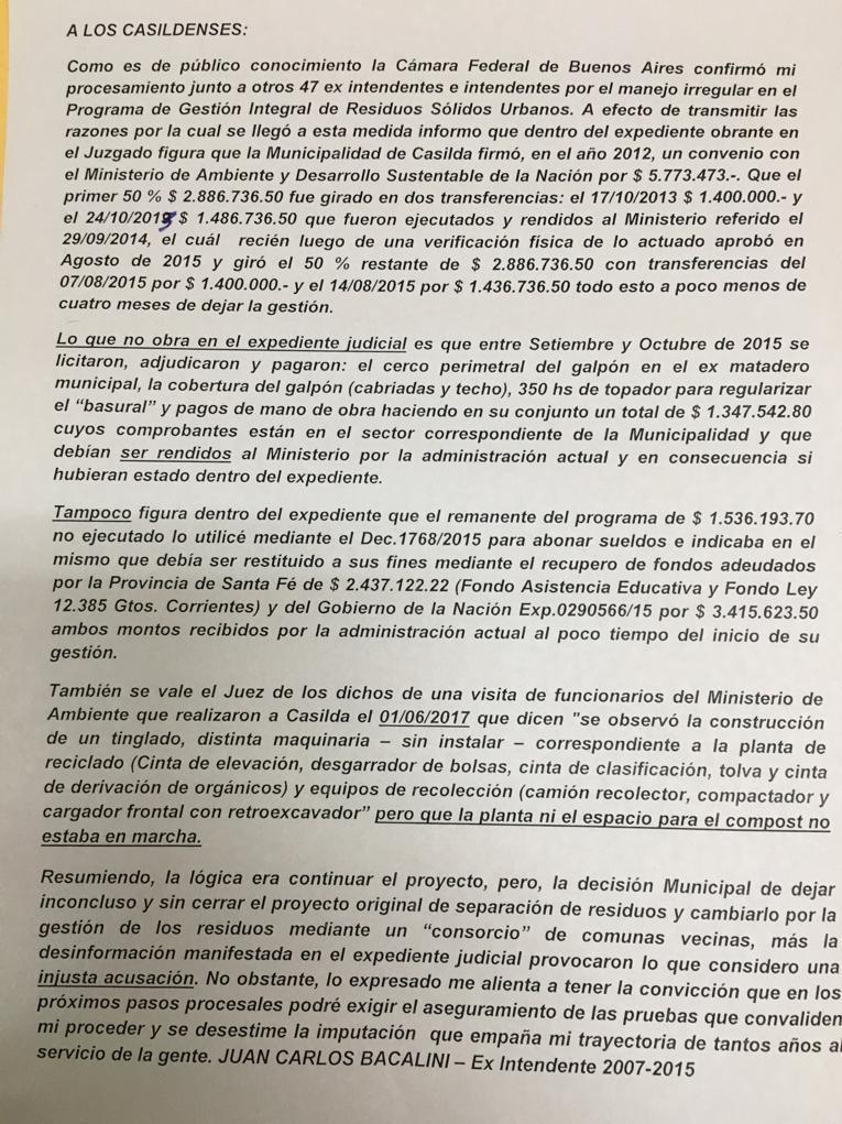La nota oficial de Juan Carlos Bacalini.