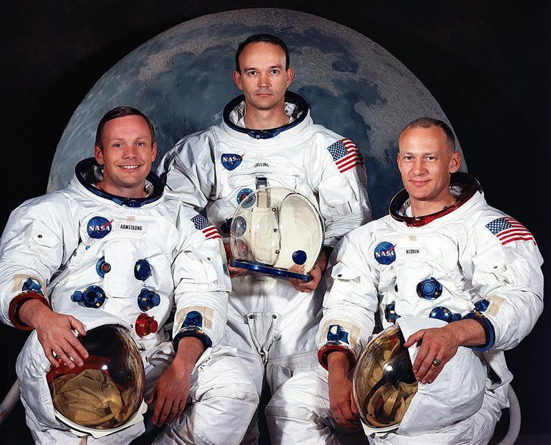 De der. a izq:Neil Armstrong, Michael Collins, y Edwin E. Aldrin. EFE