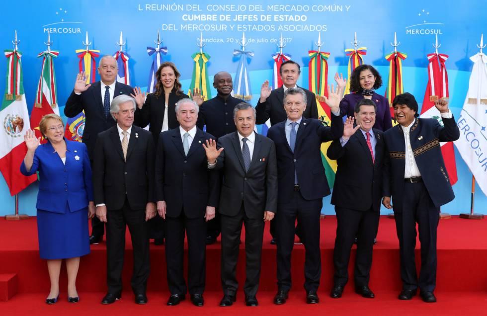 La cumbre de presidentes del Mercosur celebrada en Mendoza, Argentina, durante 2017.