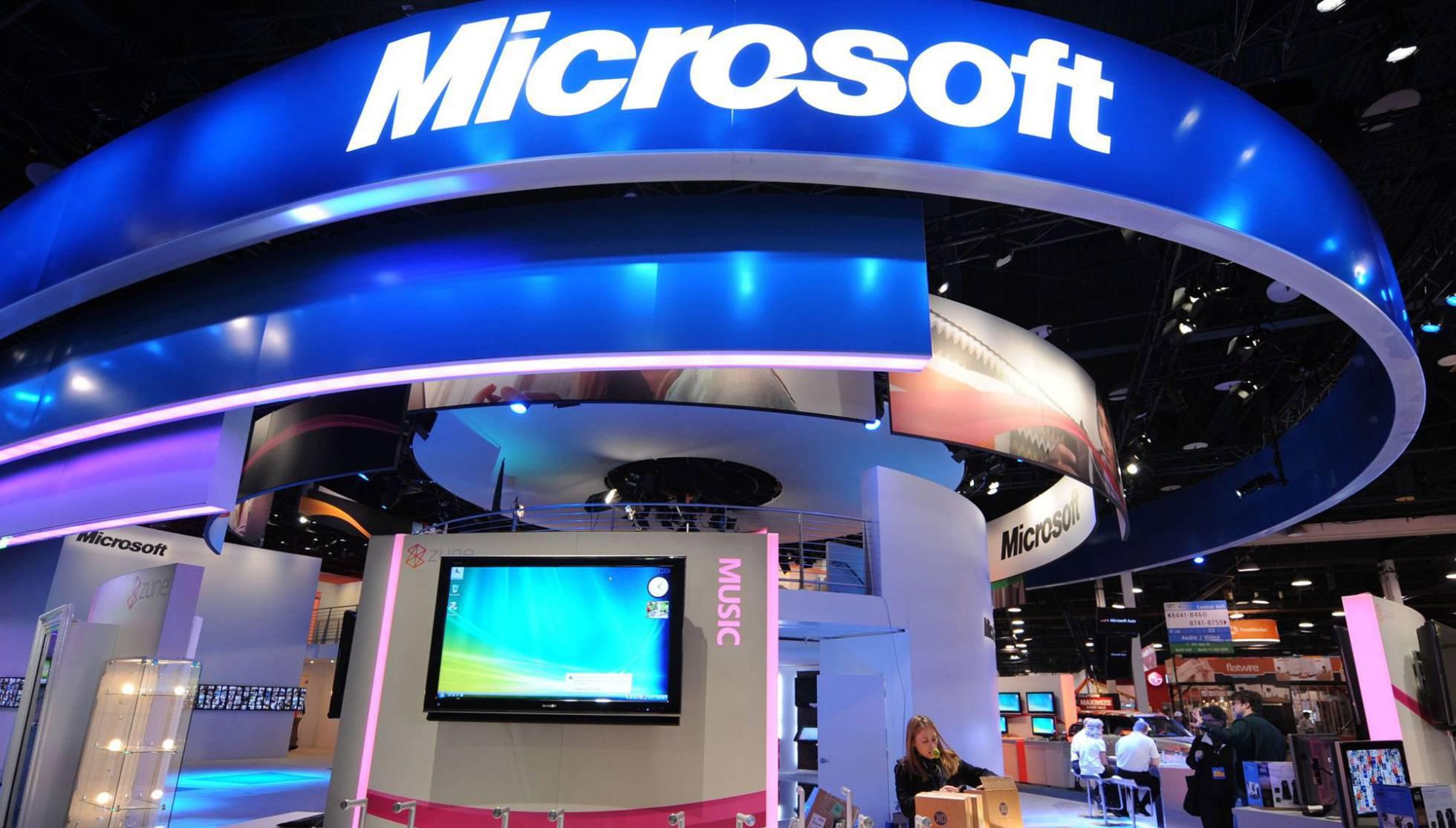 Mostrador de Microsoft en la feria Consumer Electronics Show de Las Vegas.