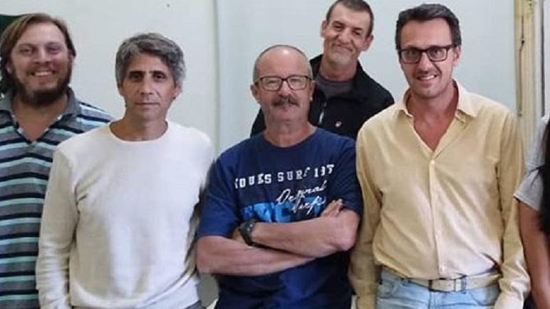 Mariano Gárate, de blanco, y Danilo Renzi, de amarillo, las nuevas autoridades.
