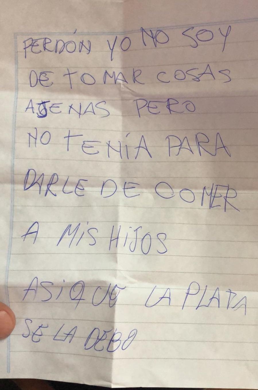 La nota que había en la billetera.