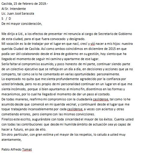 El escrito firmado por Pablo Tomat.