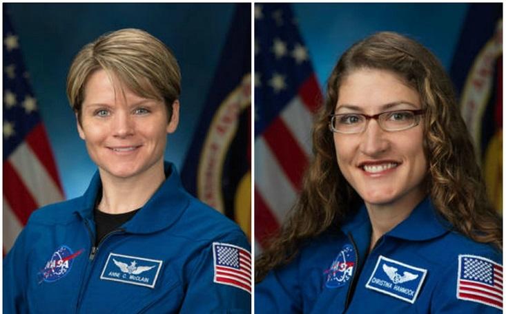 Mc Clain y Koch serán las primeras mujeres en hacer una caminata espacial.