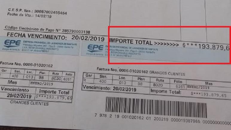 El detalle de la última factura que recibió la UOM.