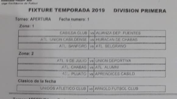 Te presentamos el Fixture del Torneo 2019 de la Liga Casildense de Fútbol.