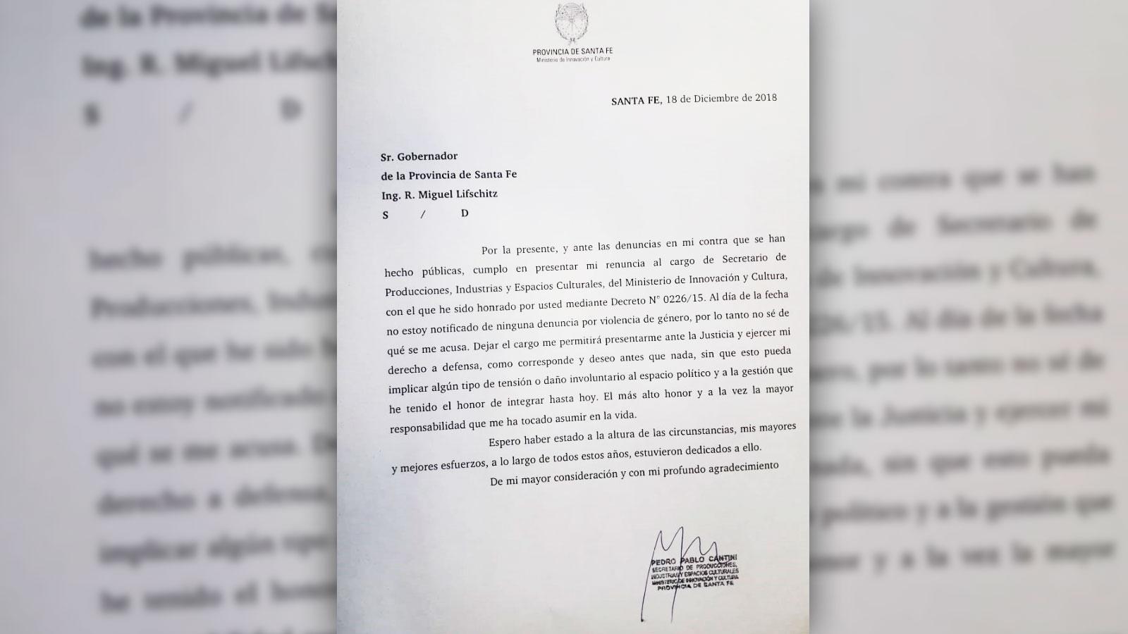 El texto de la renuncia que Cantini elevó el martes a la noche al Ejecutivo.
