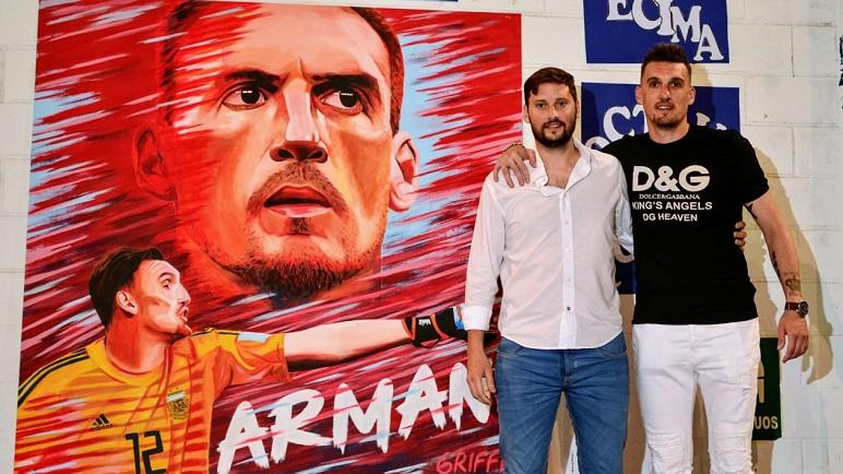 Dos potencias. Gabriel Griffa, el ilustrado, y Franco Armani, el homenajeado.