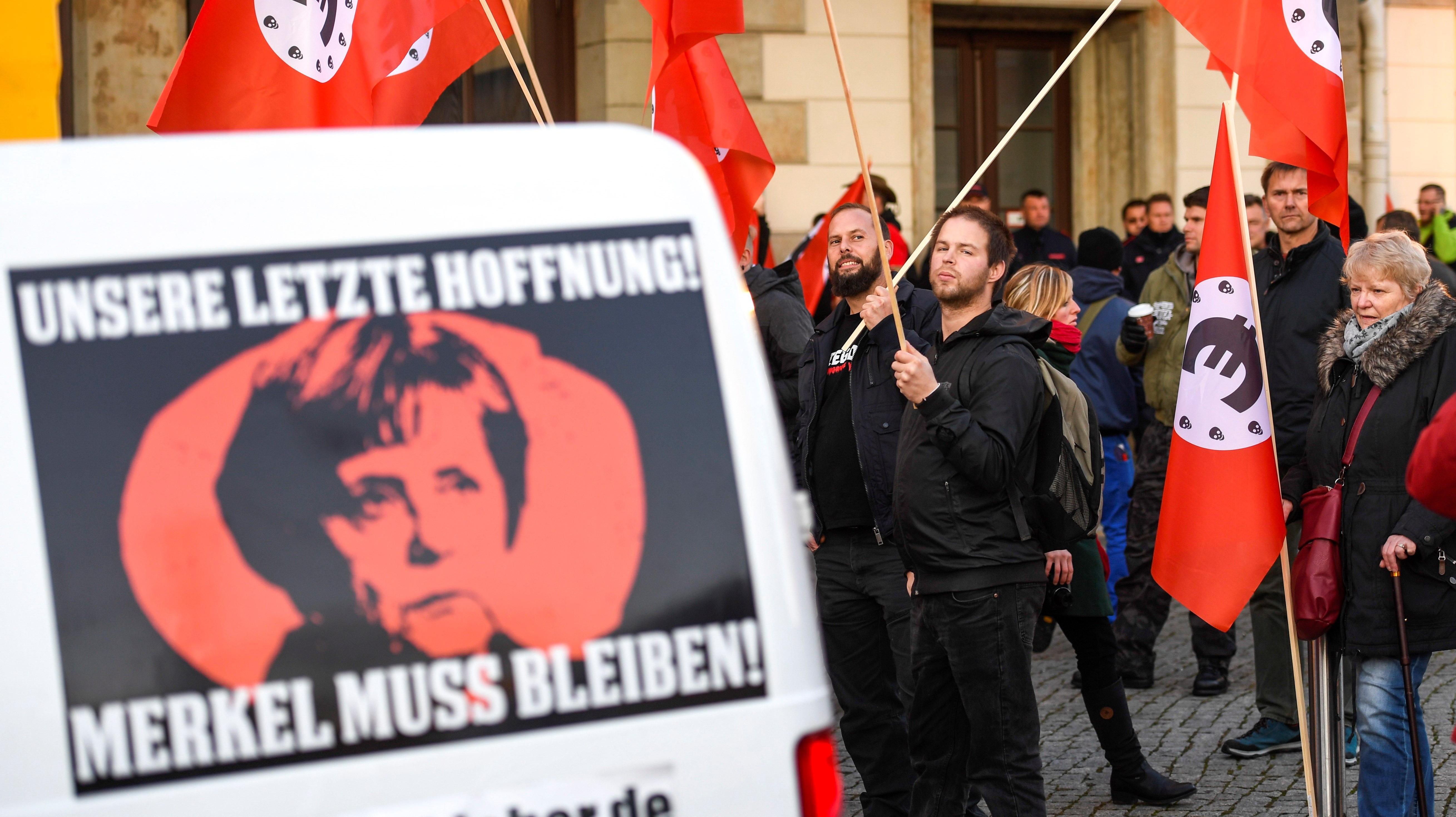 Protesta de alemanes contra Ángela Merkel