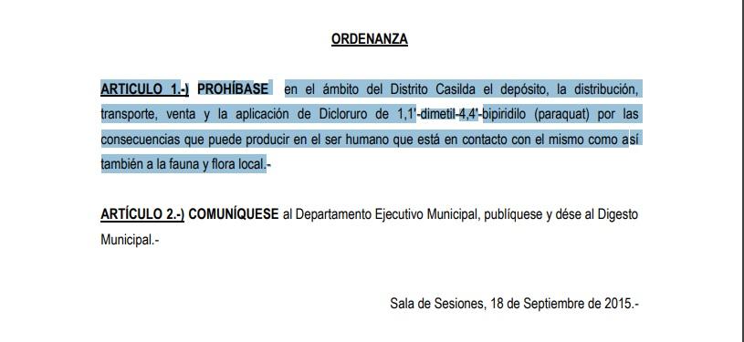 La ordenanza que prohíbe el Paraquat data del 2015.