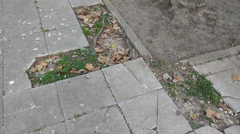 Las baldosas que faltan en la Plaza de la Fuente.