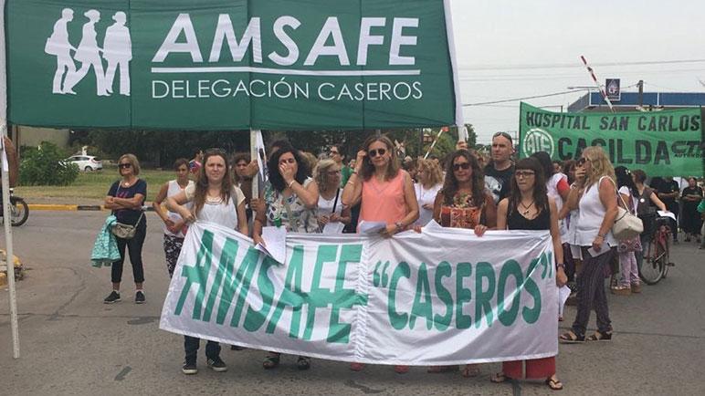 Los trabajadores de Amsafé y ATE marcharon juntos en Casilda.