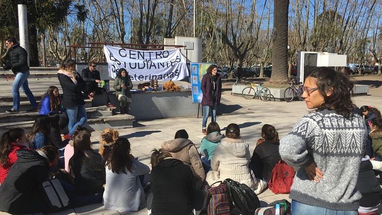 Los alumnos casildenses visibilizaron el conflicto en la plaza de los mástiles.