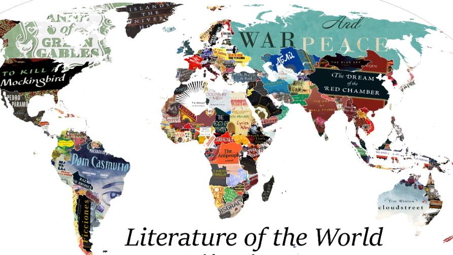Un mapa donde las tapas de los libros representan cada país