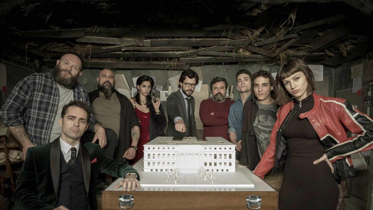 El elenco de La Casa de Papel, la serie española del momento.