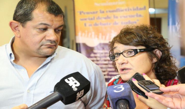 Dirigentes de Sadop y Amsafe en conferencia, este martes.