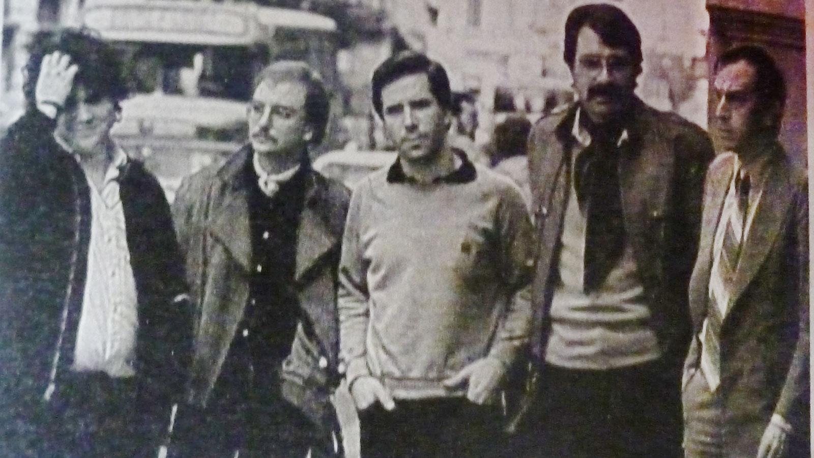 Los periodistas rosarinos amenazados: Pablo Feldman, Sergio Moreno,Alberto Gonzalo, Manuel Di Salvo y Eduardo De Paz.