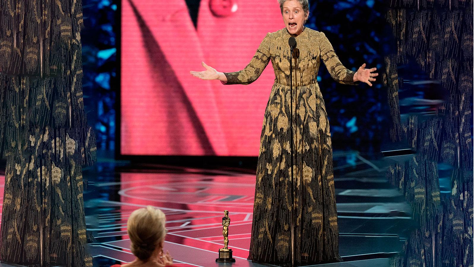 Frances McDormand dio un aplaudido discurso feminista.