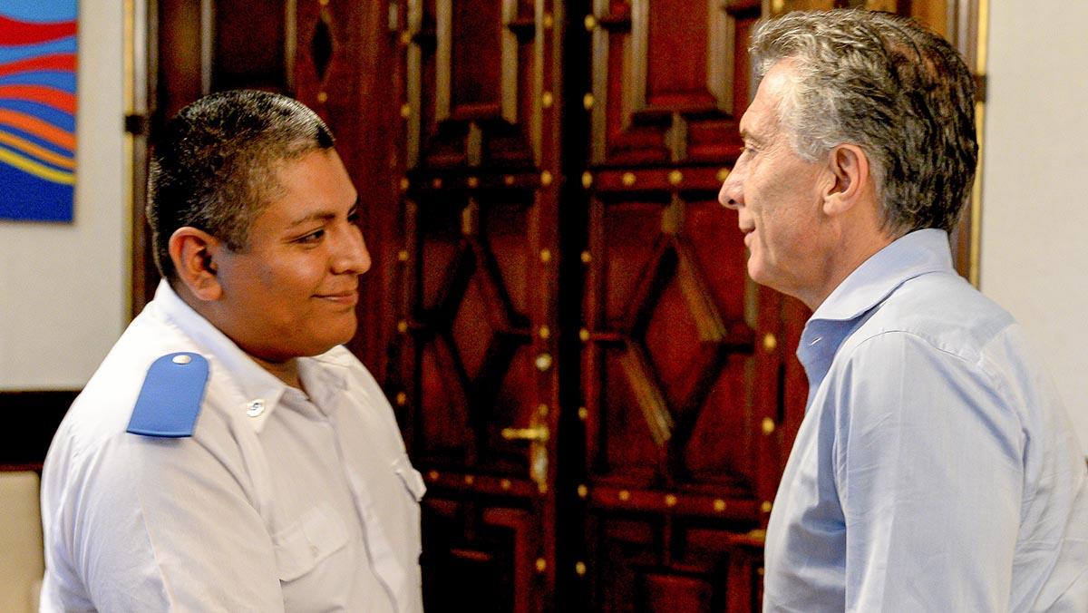 Mauricio Macri recibió en la Casa de Gobierno al policía Luis Chocobar.