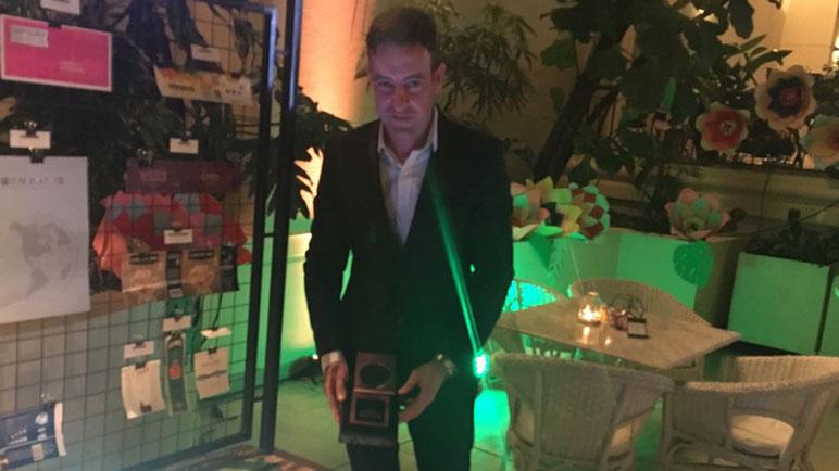 Ramiro Agostini en la entrega de premios realizada en un hotel porteño.