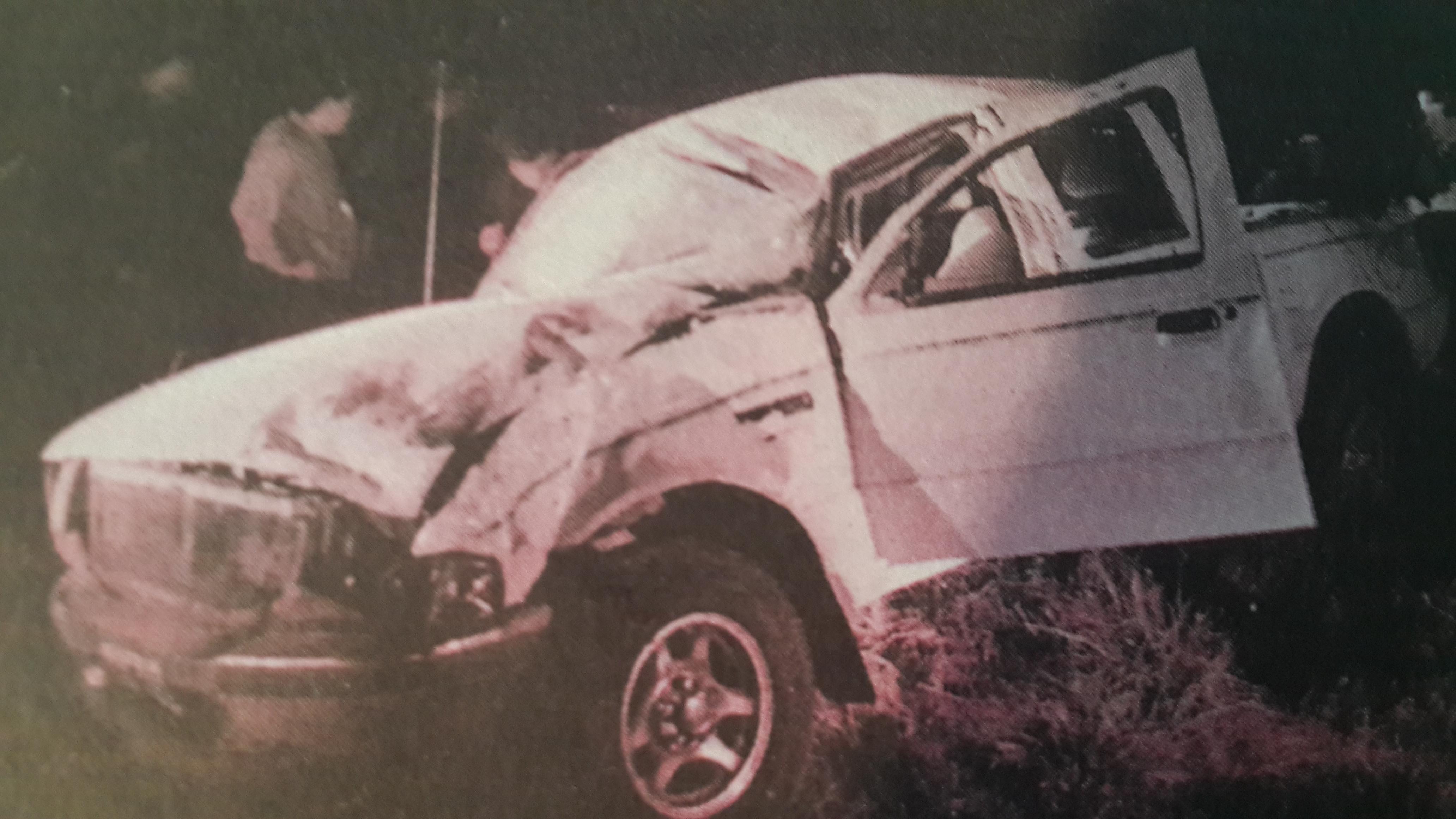 """Así quedó la FordRanger en la que escapaba """"El Burro""""Barberi junto a su cómplice y amigo, Aldo Juri."""