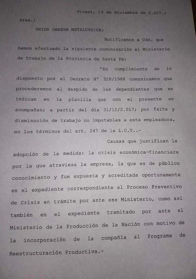 El comunicado de Vassalli.