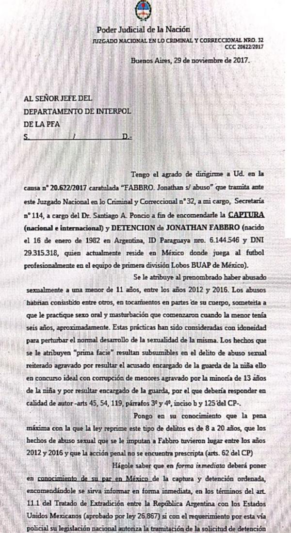 El pedido de captura internacional contra Jhonatán Fabbro.