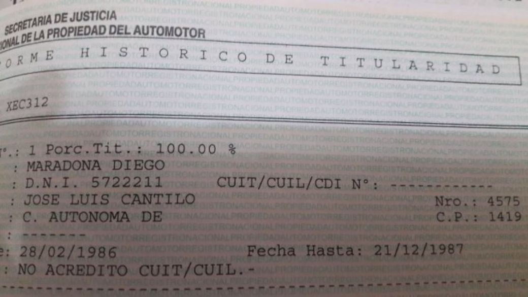 El documento que prueba que el auto fue del Diez