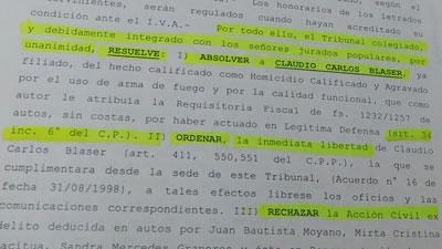 La resolución qu marca la absolución de Blaser en la causa de homicidio.