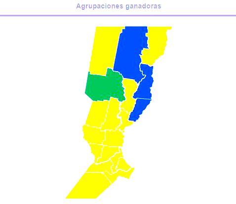 Cambiemos (amarillo); Frente Progresista (verde); Frente Justicialista(azul). Fuente:Dirección Nacional Electoral