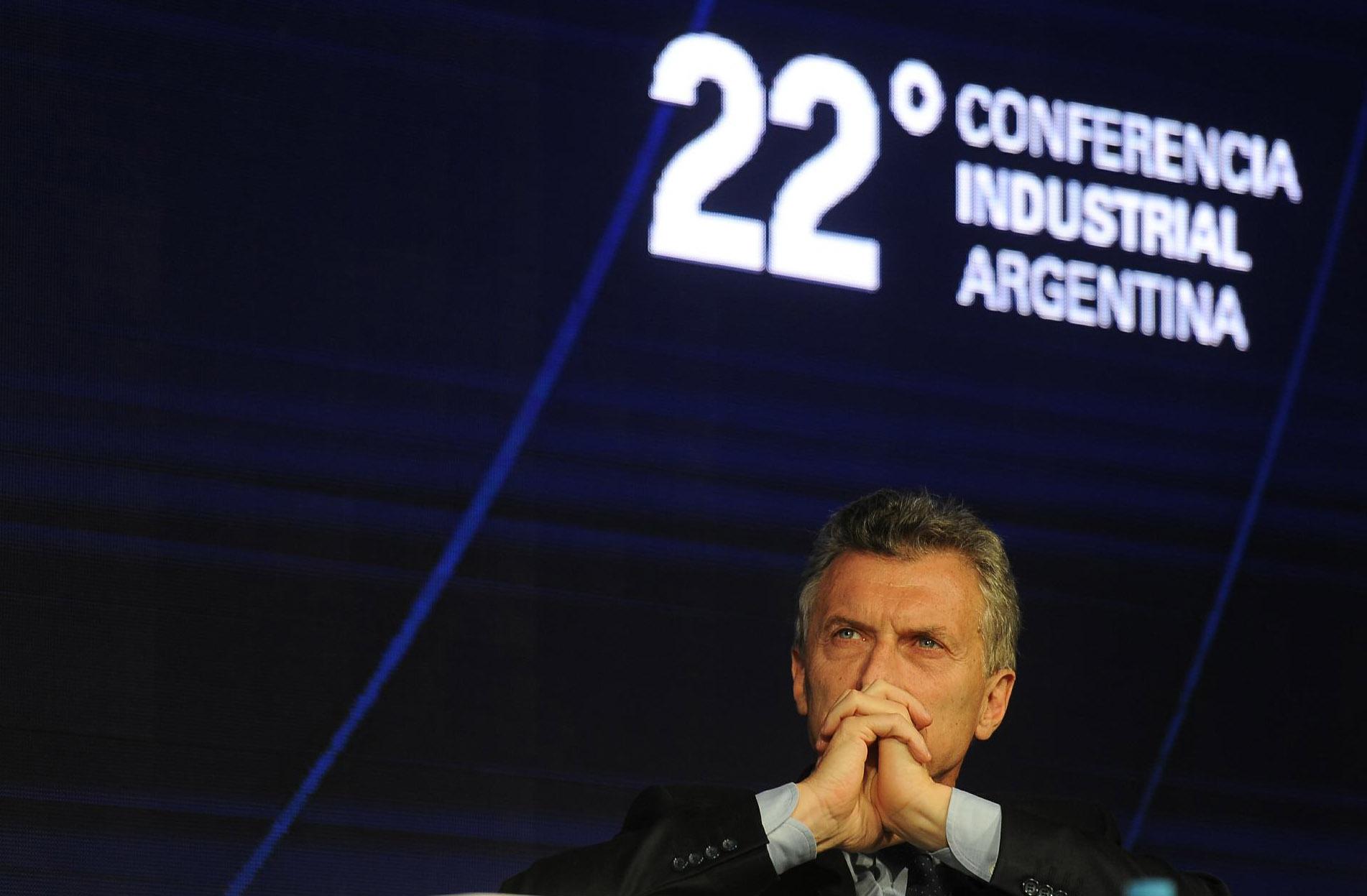 Macriesta semana, durante la 22° Conferencia Industrial de la UIA. No fue una buena semana para el presidente. (Télam)