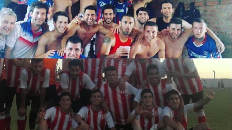 Los planteles de Unión y Pujato celebran jugar esta final del Clausura.