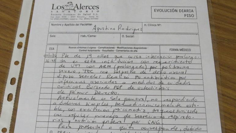 Copia del parte médico de Agustina Rodríguez emitido el miércoles en Los Alerces.