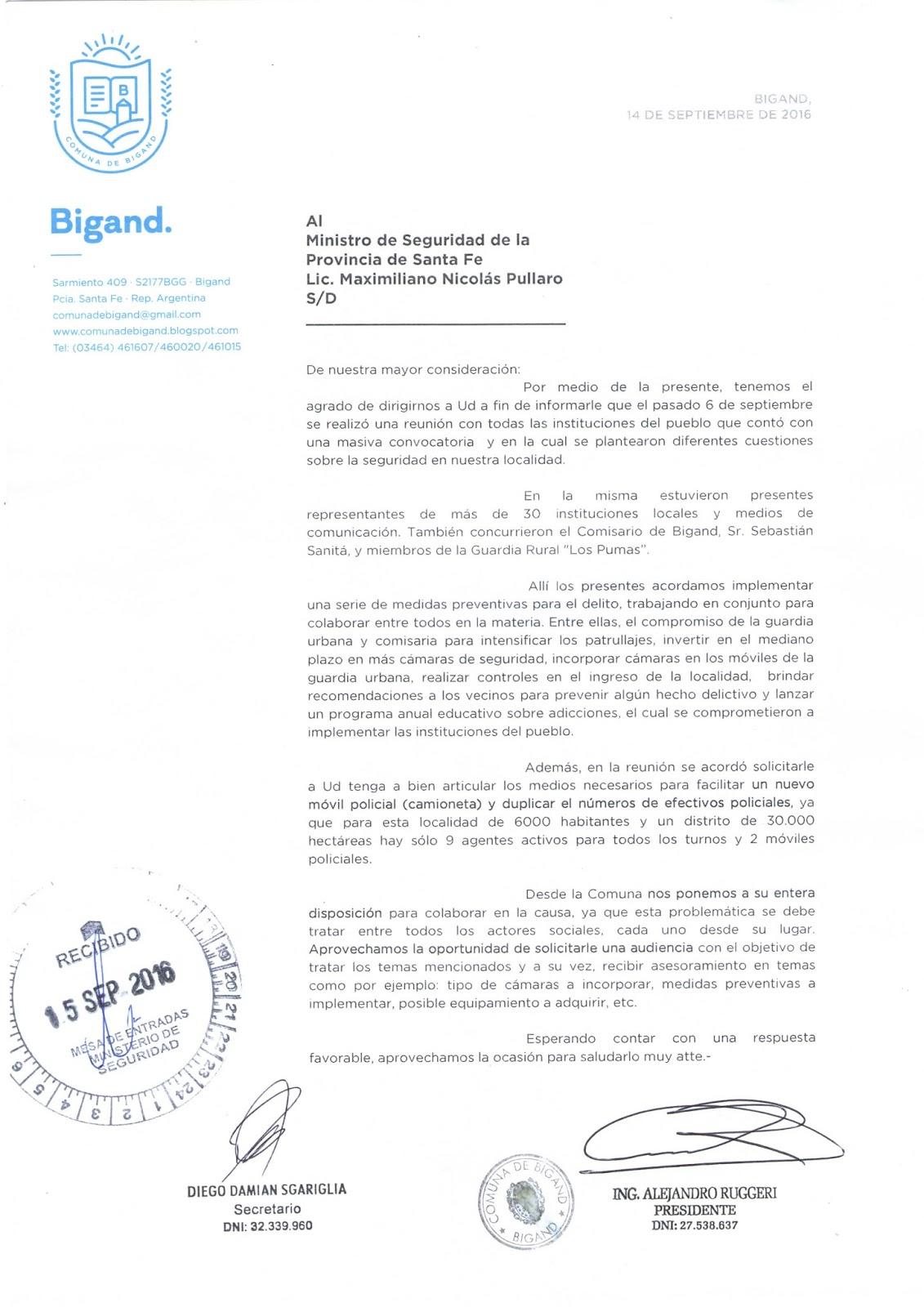 La nota dirigida al ministeriode Seguridad de Santa Fe, MaximilianoPullaro.